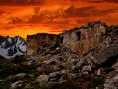 Sunset over ruins of the military fortress of the First World War Zaccarana-Dolomites Italy
