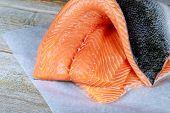 Delicious Salmon Steak With Fresh Fresh Salmon Steaks. Raw Salmon poster