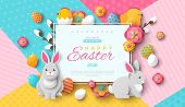 Easter Card With Square Frame, Spring Flowers And Flat Easter Icons On Colorful Modern Geometric Bac poster
