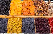 Dry Fruit Mix On A Pile On A Food Market, Coloful Dry Fruits, Dried Fruits, Different Types Of Dry F poster