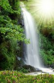 waterfall in the National Park Tercino valley in the mountains Novohradske-Czech Republic