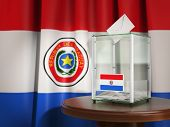 Ballot box with flag of Paraguay and voting papers. Paraguayan presidential or parliamentary electio poster