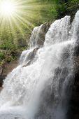 beautiful waterfall Vallesinella in the National Park Adamello-Brenta - Italy Dolomites