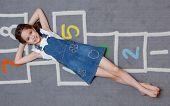 Joyful girl in blue dress poster