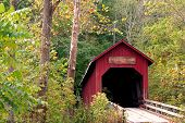 picture of covered bridge  - covered bridge on a rural public road in Indiana - JPG