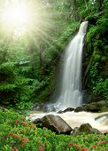 picture of bohemia  - beautiful waterfall in the National Park Tercino valley in the mountains Novohradske - JPG