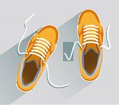 Постер, плакат: Shoes Shoes In Flat Style Shoes Top View Fashion Shoes Fashion Shoes Orange Vector Illustration