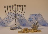 Menorah With Gelt, Dreidel And Ribbon