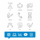 Teamwork, Presentation And Phone Call Icons. Chat Speech Bubble, Hourglass And Bird Linear Signs. Sm poster