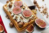 Vienna Wafer Dessert With Ricotta, Nuts And Fresh Figs On White Plate Background, Healthy Dessert Co poster