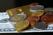 Dollars, Gold Card And Coins