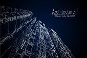 Modern Architecture Wireframe. Concept Of Urban Wireframe. Wireframe Building Illustration Of Archit poster