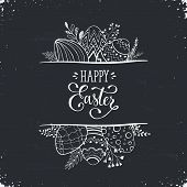 Happy Easter Greeting Card Isolated On Blackboard. Easter Eggs Composition Hand Drawn White On Black poster