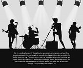 Rock Band Silhouette On Stage With Text Place poster