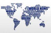 Concepto de noticias del mundo. Mapa del mundo abstracto de palabras de noticias del mundo. Vector.