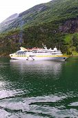 Ship in norwegian fjord.