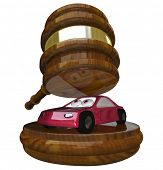 A red 3d illustration of a car under a gavel symbolizing someone who has gone bankrupt or fallen behind on payments and is losing a vehicle to being repossessed or seized as a court settlement
