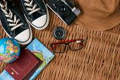 Summer Vacation, Travel, Tourism And Objects Concept. Passport Travel Document Photo Camera Sunglass poster