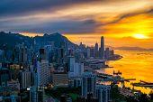 Hong Kong City Skyline At Sunset. View From Braemar Hill Hongkong. poster