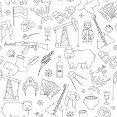 Seamless Pattern On The Theme Of Travel In The Country Of Russia, A Simple Outline Of Cartoon Icons  poster