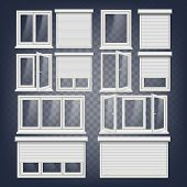 Pvc Window Vector. Rolling Shutters. Opened And Closed. Front View. Open Plastic Glass Window. Isola poster