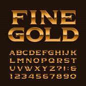 Gold Alphabet Font. Luxury Glossy Letters, Numbers And Symbols. Stock Vector Typeface For Any Typogr poster