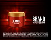 Cosmetic Ads Template. Cosmetic Contaainer On A Glowing Background With Geometric Elements. Design F poster