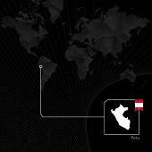 Peru On Black World Map. Map And Flag Of Peru. poster