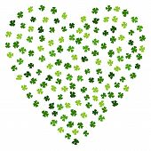 Green Clovers Heart For St. Patricks Day. Irish Clover Laef. Typographic Design For St. Patrick Day poster