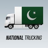Symbol Of National Delivery Truck With Flag Of Pakistan. National Trucking Icon And Pakistani Flag poster