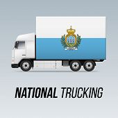 Symbol Of National Delivery Truck With Flag Of San Marino. National Trucking Icon And Flag Colors poster