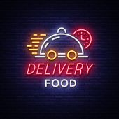 Food Delivery Neon Sign. Logo In Neon Style, Light Banner, Luminous Symbol, Bright Nightlife Neon Ad poster