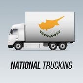 Symbol Of National Delivery Truck With Flag Of Cyprus. National Trucking Icon And Cypriot Flag poster