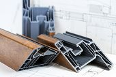 A Cross Section Of Pvc Window. Pvc Window Profile Cut. Design Of Pvc Profiles For Window, Technical  poster