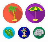 Brazil, Country, Umbrella, Beach . Brazil Country Set Collection Icons In Flat Style Vector Symbol S poster