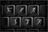 Sport Icons on Computer Keyboard Buttons Original Illustration
