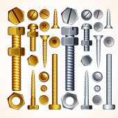 Screws, Bolts, Nuts and Rivets, isolated elements for your design