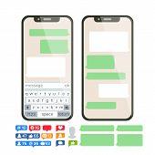 Mobile Screen Messaging Vector. Chat Bot Bubbles Set. Mobile App Messenger Interface. Communication  poster