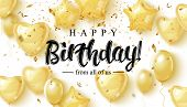 Vector Birthday Elegant Greeting Card With Gold Balloons And Falling Confetti poster