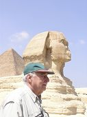 baby boomer Tourist Beside Sphinx Of Giza