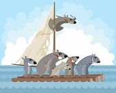 Vector Illustration Of Rodents On A Raft poster