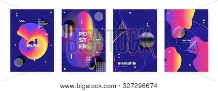 poster of Flow Memphis Gradient. Modern Hipster Cover. Blue Wave Poster. Graphic Bauhaus Elements. Fluid Memph