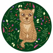 Cute Spotted Leopard Kitten With Abstract Tropical Flowers, Leaves And Plants On Green Background, C poster