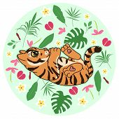 Cute Tiger Kitten With Abstract Tropical Flowers, Leaves And Plants On Green Background, Cartoon Dra poster