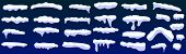 Snow Caps, Snowballs And Snowdrifts Set. Snowballs And Snow Drifts Winter Decoration Snowy Elements. poster