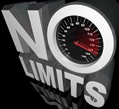 The words No Limits with a speedometer and racing needle representing unlimited speed and potential