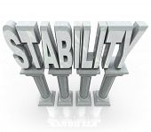 The word Stability on marble stone columns representing dependability strength, resilience, maturity