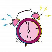 Alarm Clock Icon. Vector Illustration Of Retro Alarm Clock. Hand Drawn Alarm Clock. poster