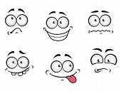 stock photo of caricatures  - Cartoon emotions faces set for comics design - JPG
