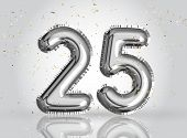 25 Years Anniversary. Happy Birthday Joy Celebration.silver Balloons & Confetti For Greeting Card, B poster